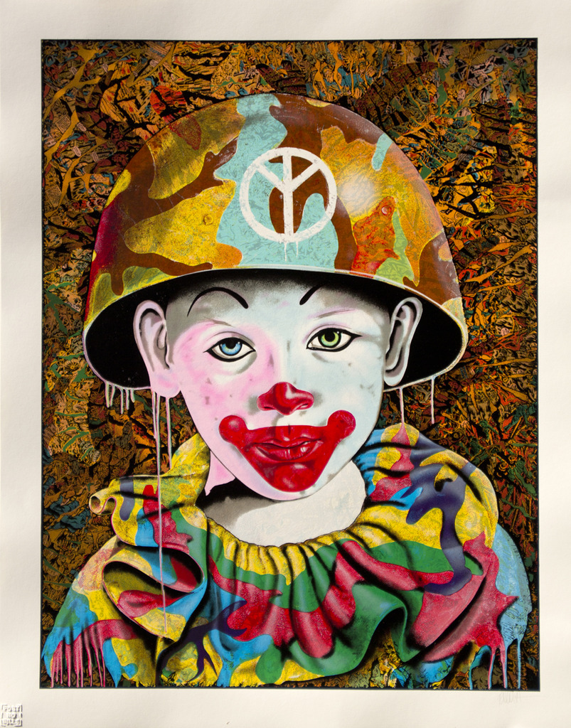 english camo peace clown