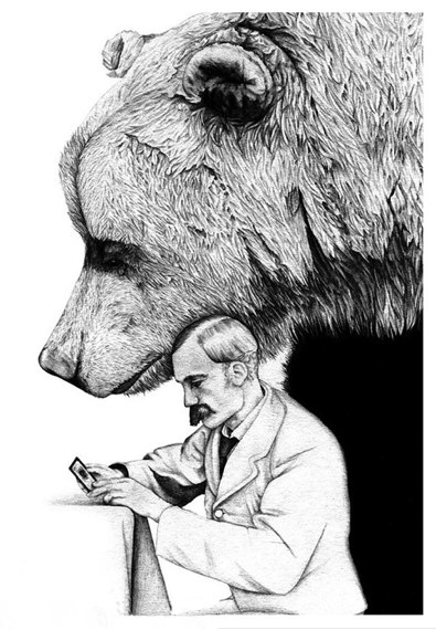 dover Henrietta - Print of a Bear, a Man and a Mysterious Woman