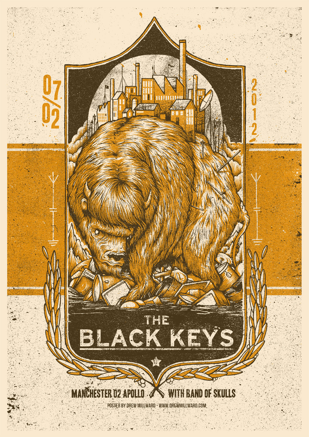 first look the black keys manchester apollo by drew millward 411posters. Black Bedroom Furniture Sets. Home Design Ideas