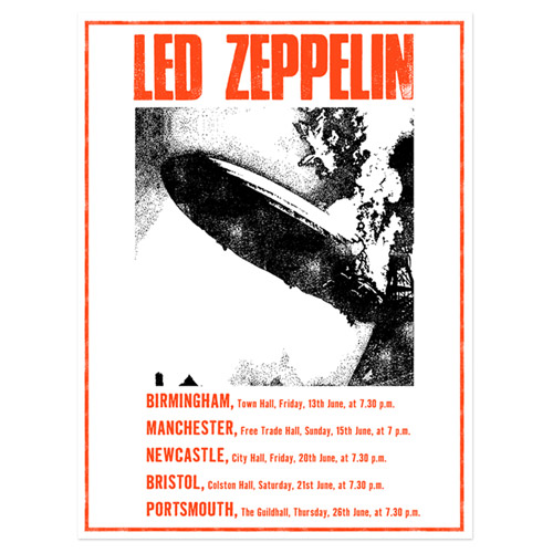 led zeppelin UK Tour June 1969 Limited Edition Screen Print