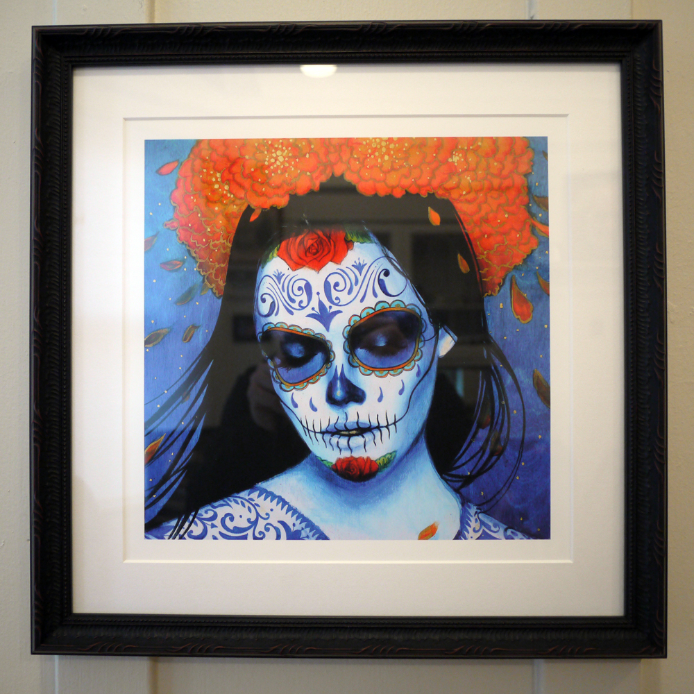 ji Calavera Azul framed