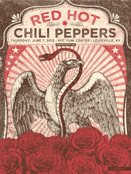 status serigraph Red Hot Chili Peppers, Louisville KY 2012