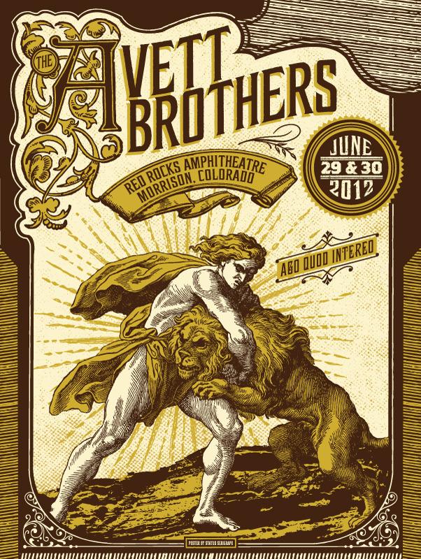 status serigraph The Avett Brothers, Morrison CO 2012