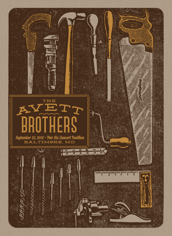 status serigraph Avett Brothers  Baltimore MD 2012