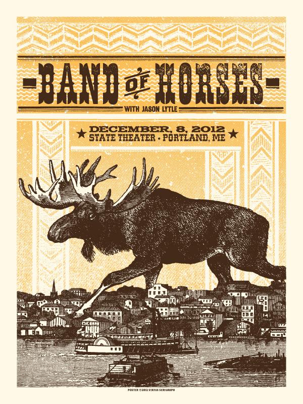 status serigraph Band of Horses - Portland, ME