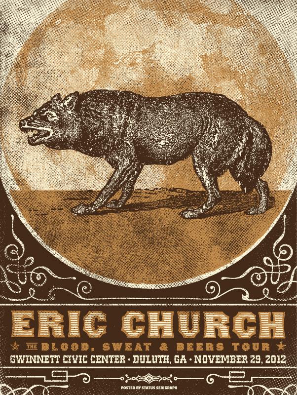 status serigraph Eric Church - Duluth, GA 2012