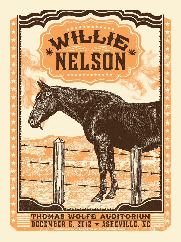 status serigraph Willie Nelson - Asheville, NC 2012