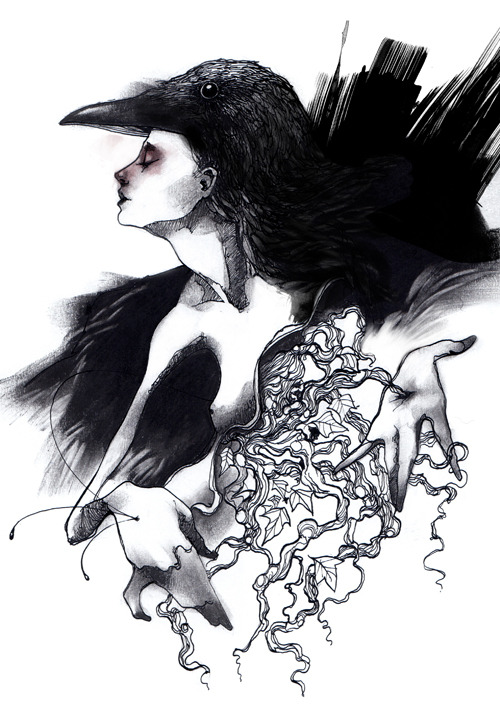 craww crow girl bw