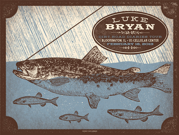 status serigraph Luke Bryan - Bloomington, IL 2013