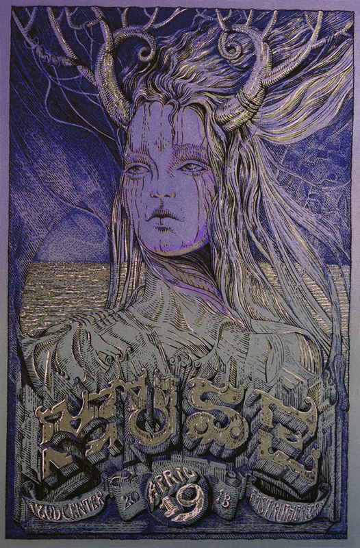 """Muse Handbill"" by David Welker.  12"" x 18"" 4-color Screenprint, 2 metallics and hand finished with Dr. Martins Dyes"