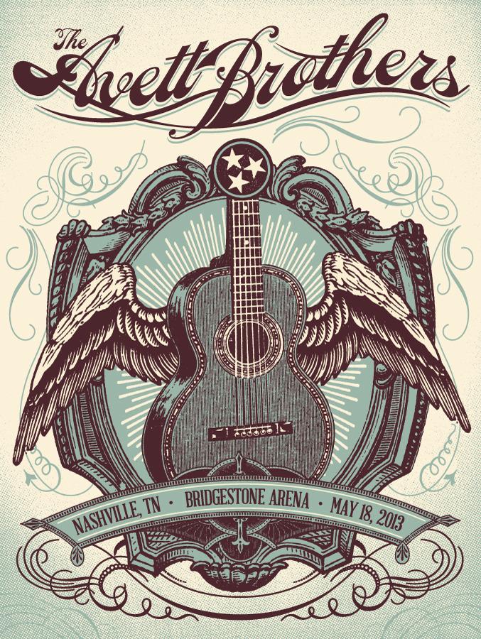 status serigraph Avett Brothers - Nashville, TN 2013