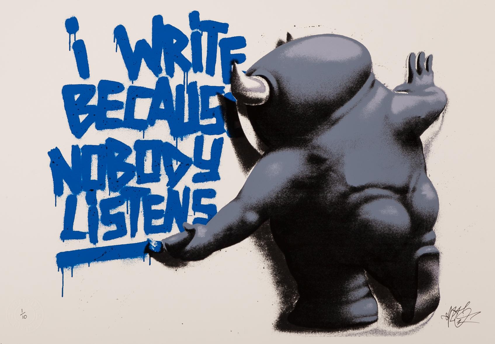 cart 1 I Write Because Nobody Listens cobalt blue