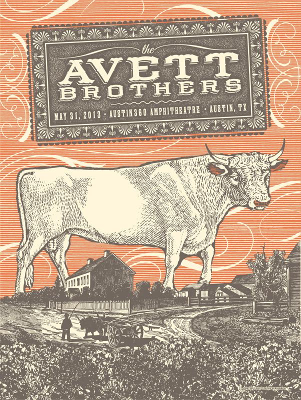 status serigraph the Avett Brothers - Austin, TX 2013