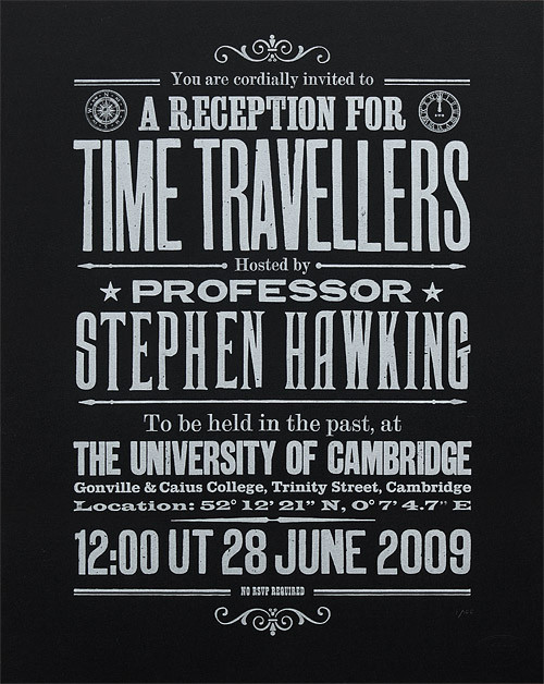 Stephen Hawking's Time Travellers Invitation black