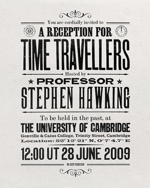 Stephen Hawking's Time Travellers Invitation white
