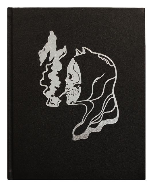 "Cover design by We Buy Your Kids. 9""x12"" leather bound, hardcover scratch and dent poster book. Embossed design with silver inlay. Assembled by hand. Hand numbered. Edition of 100. $200"