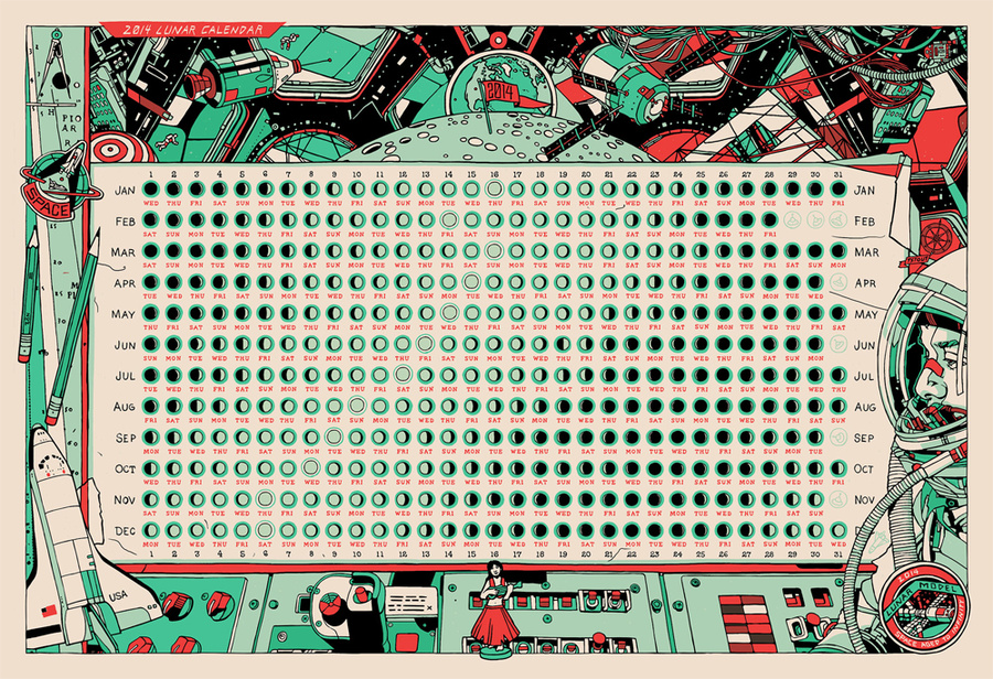 """Comment on  """"Space Aged to Infinity : A 2014 Lunar Calendar """" by Tyler Stout.  View all posts by admin.  12:54 am."""