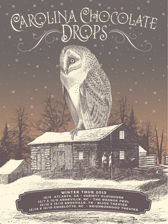 status serigraph Carolina Chocolate Drops - Winter Tour 2013