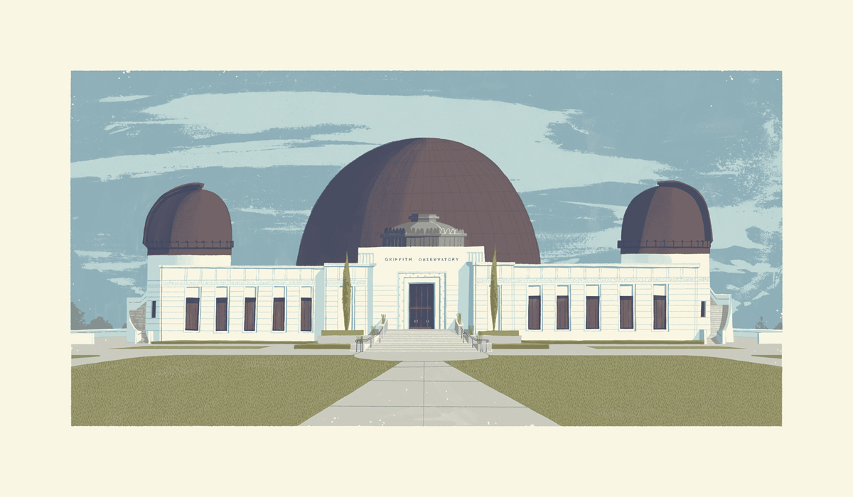 """Griffith Observatory"" by Chris Turnham.  24"" x 14"" 6-color Screenprint.  Ed of 35 S/N.  $100"