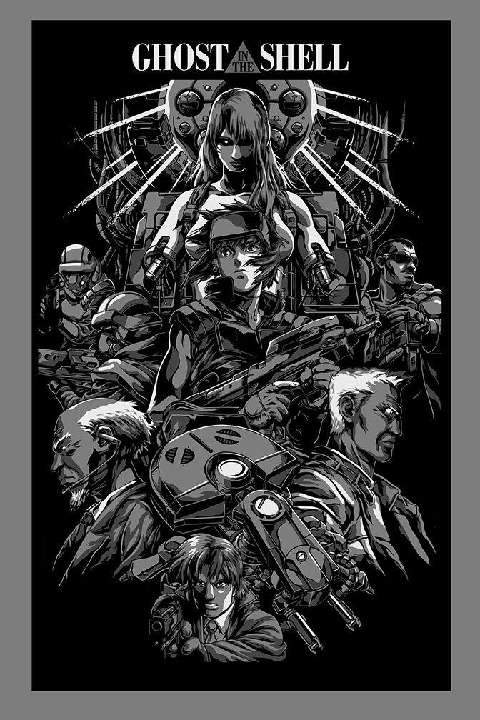 """Ghost in the Shell"" by Alexander Iaccarino.  20"" x 30"" 5-color Screenprint.  Ed of 75.  $70 (variant)"