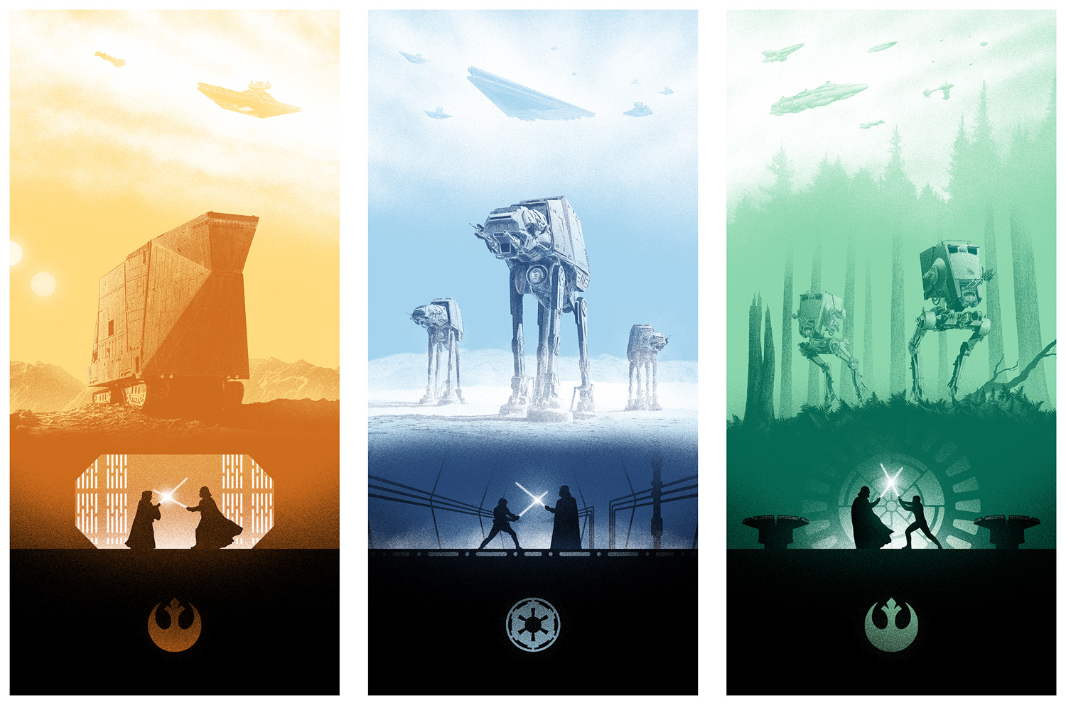 star wars trilogy triptych by marko manev 411posters. Black Bedroom Furniture Sets. Home Design Ideas