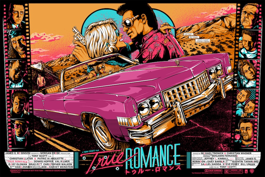"""True Romance"" by Matt Ryan Tobin.  36"" x 24"" 7-color Screenprint.  Ed of 35 N.  $65 (variant)"
