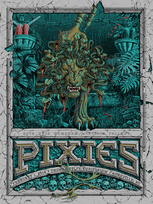 """Pixies - Ashville, NC 2014"" by Dig My Chili.  18"" x 24"" 6-color Screenprint.  Ed of 40 S/N.  $45 (variant)"