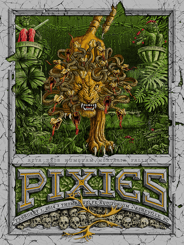 """Pixies - Ashville, NC 2014"" by Dig My Chili.  18"" x 24"" 6-color Screenprint.  Ed of 135 S/N.  $35"