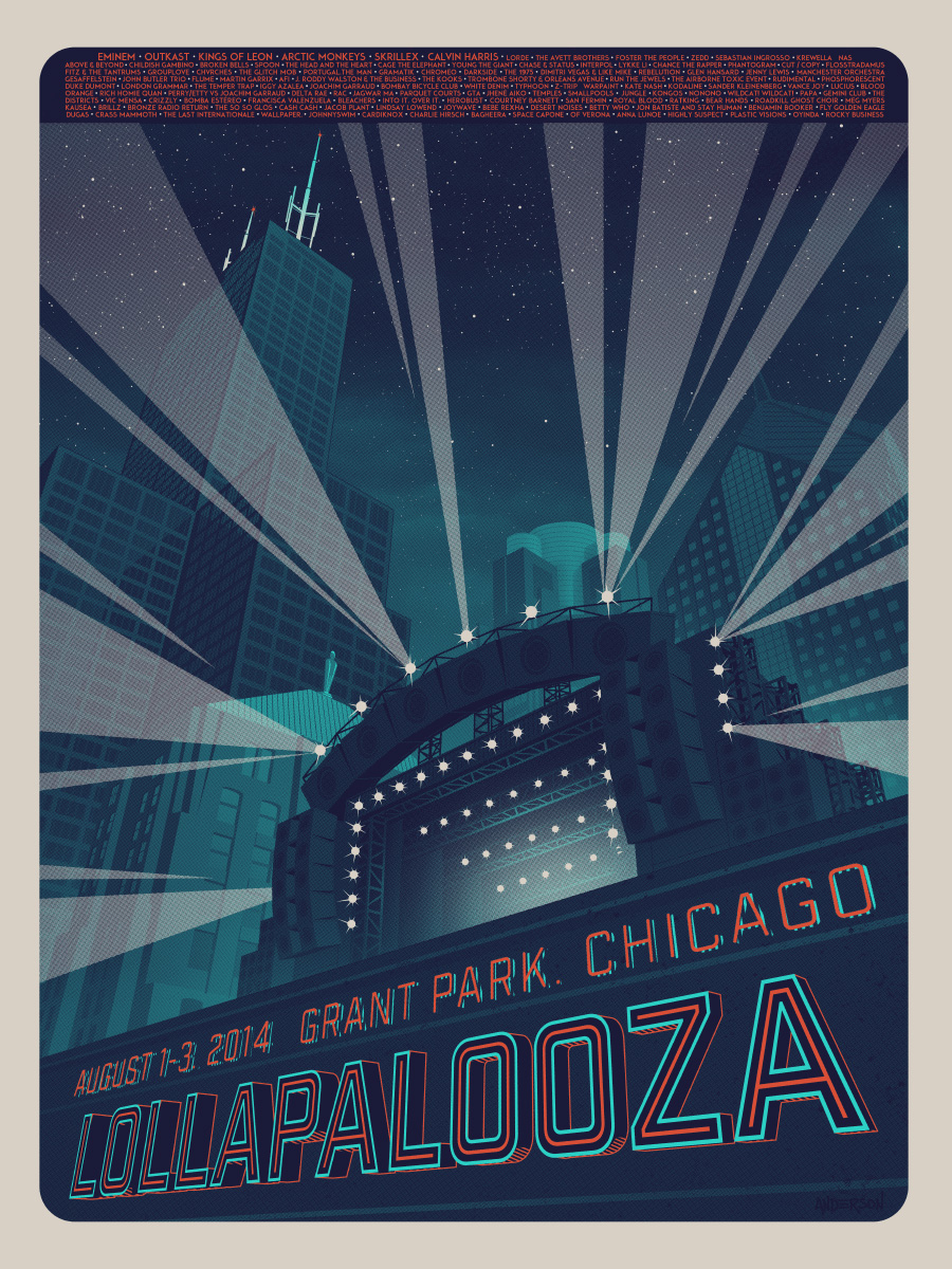 """Lollapalooza - Chicago 2014"" by Tim Anderson. 18"" x 24"" 3-color Screenprint.  Ed of 300 N.  $60"