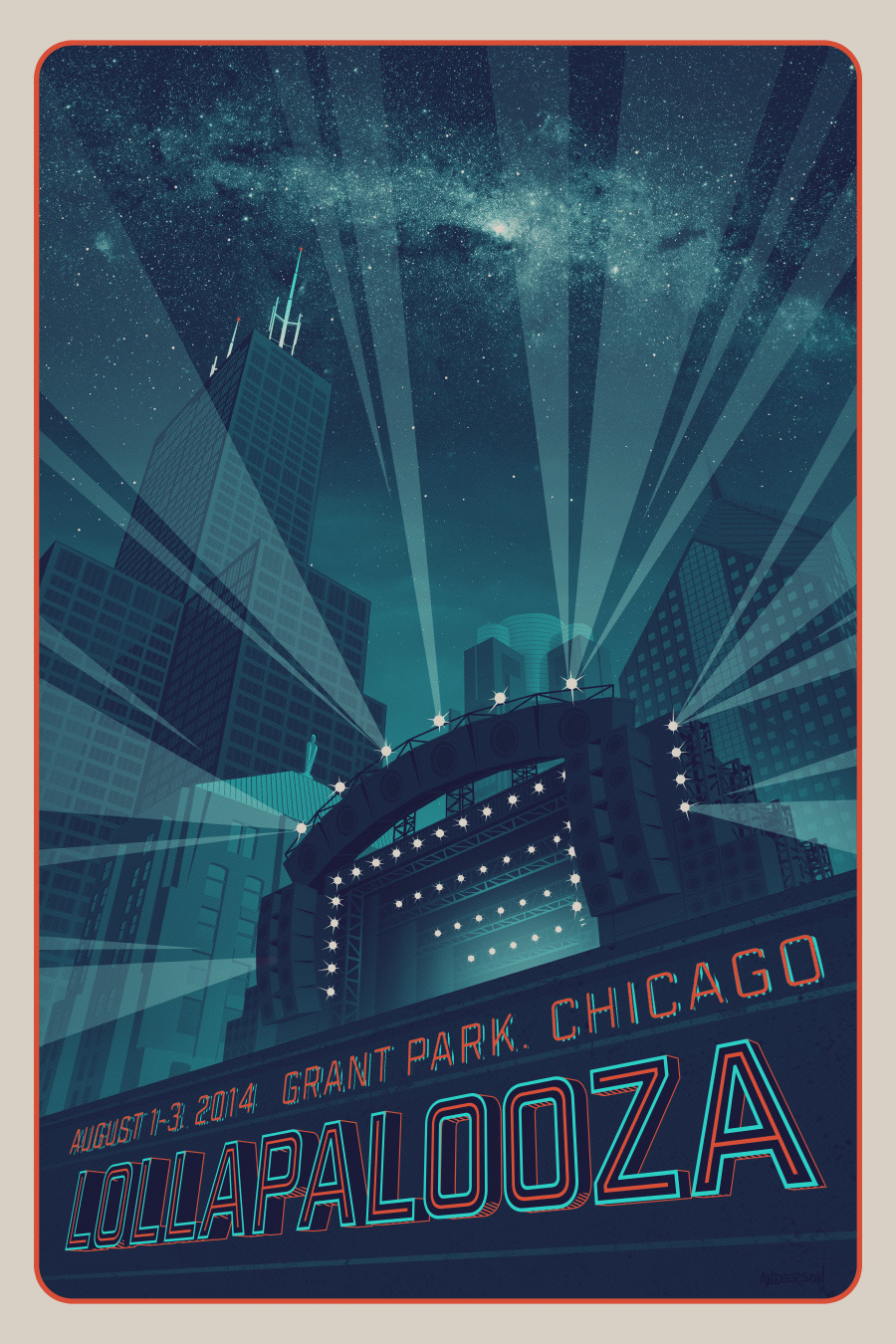 """Lollapalooza - Chicago 2014"" by Tim Anderson. 24"" x 36"" 3-color Screenprint + GID inks.  Ed of 100 S/N.  $175"