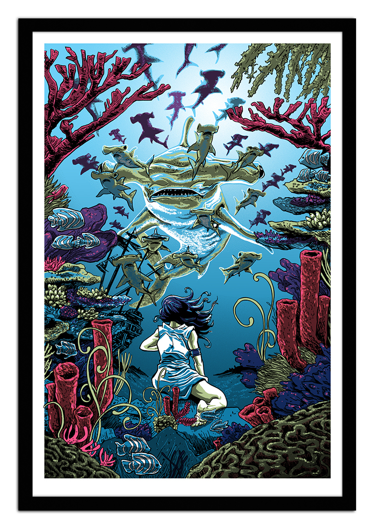 """The Sea Also Rises: The Fleet Deploys"" by Tim Doyle.  24"" x 36"" 5-color Screenprint.  Ed of 150 S/N.  $50"