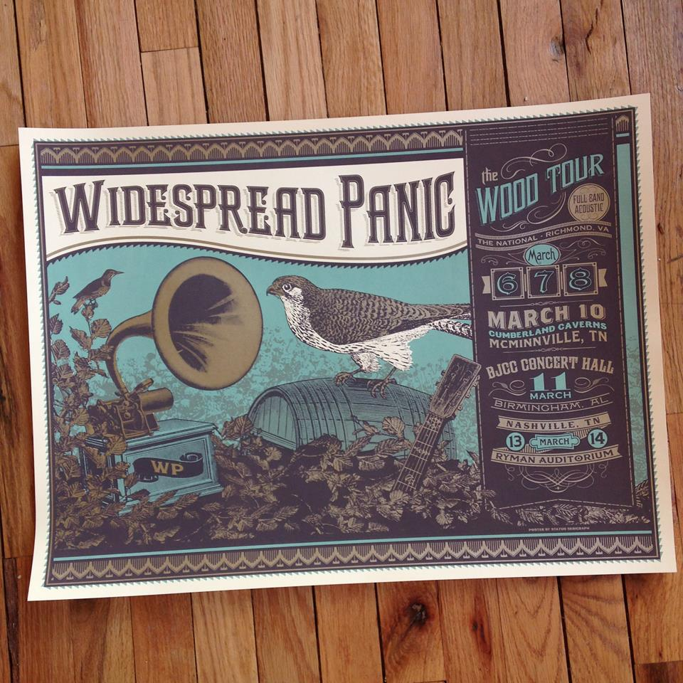status serigraph Widespread Panic - Wood Tour 2014