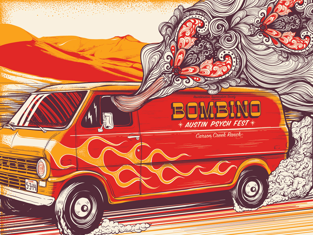 """Bombino - Austin, TX 2014"" by Jason Abraham Smith.  18"" x 24"" 3-color Screenprint.  Ed of 150.  $25"