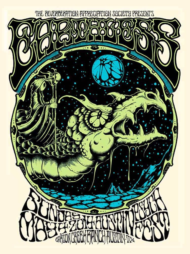 """Earthless - Austin, TX 2014"" by Alan Forbes.  18"" x 24"" 3-color Screenprint.  Ed of 150.  $25"