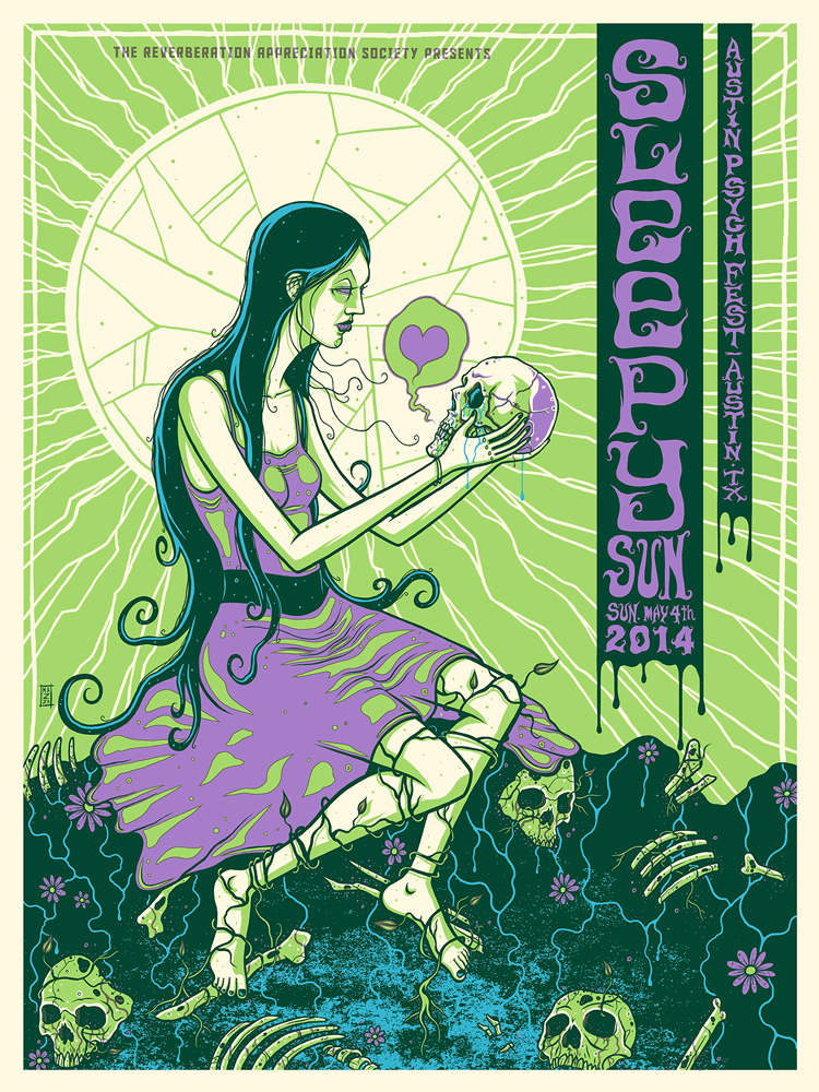 """Sleepy Sun - Austin, TX 2014"" by Jim Mazza.  18"" x 24"" 18"" x 24"" 3-color Screenprint.  Ed of 150.  $25"