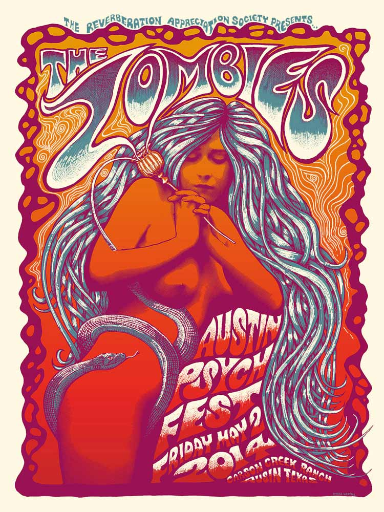 """The Zombies - Austin, TX 2014"" by Mishka Westell.  18"" x 24"" 3-color Screenprint.  Ed of 200.  $25"