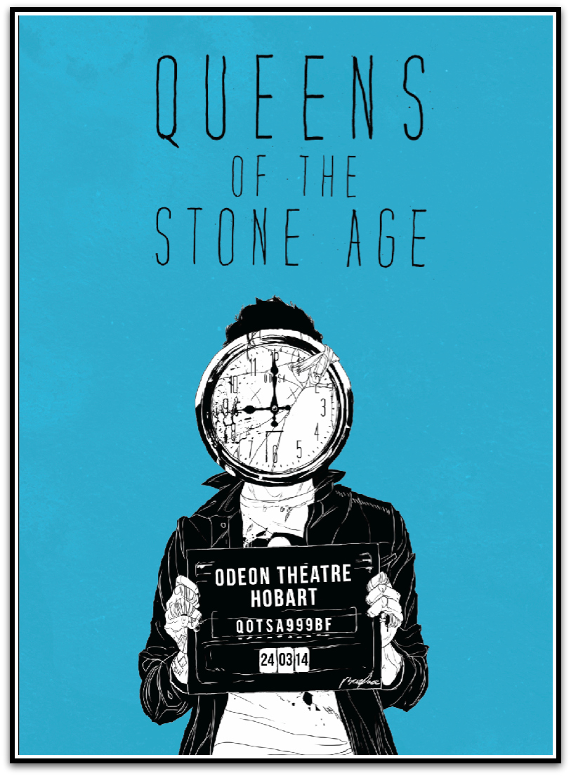 """Queens of the Stone Age - Hobart Australia 2014"" by Boneface.  16"" x 24"" Screenprint.  Ed of 195.  $35"
