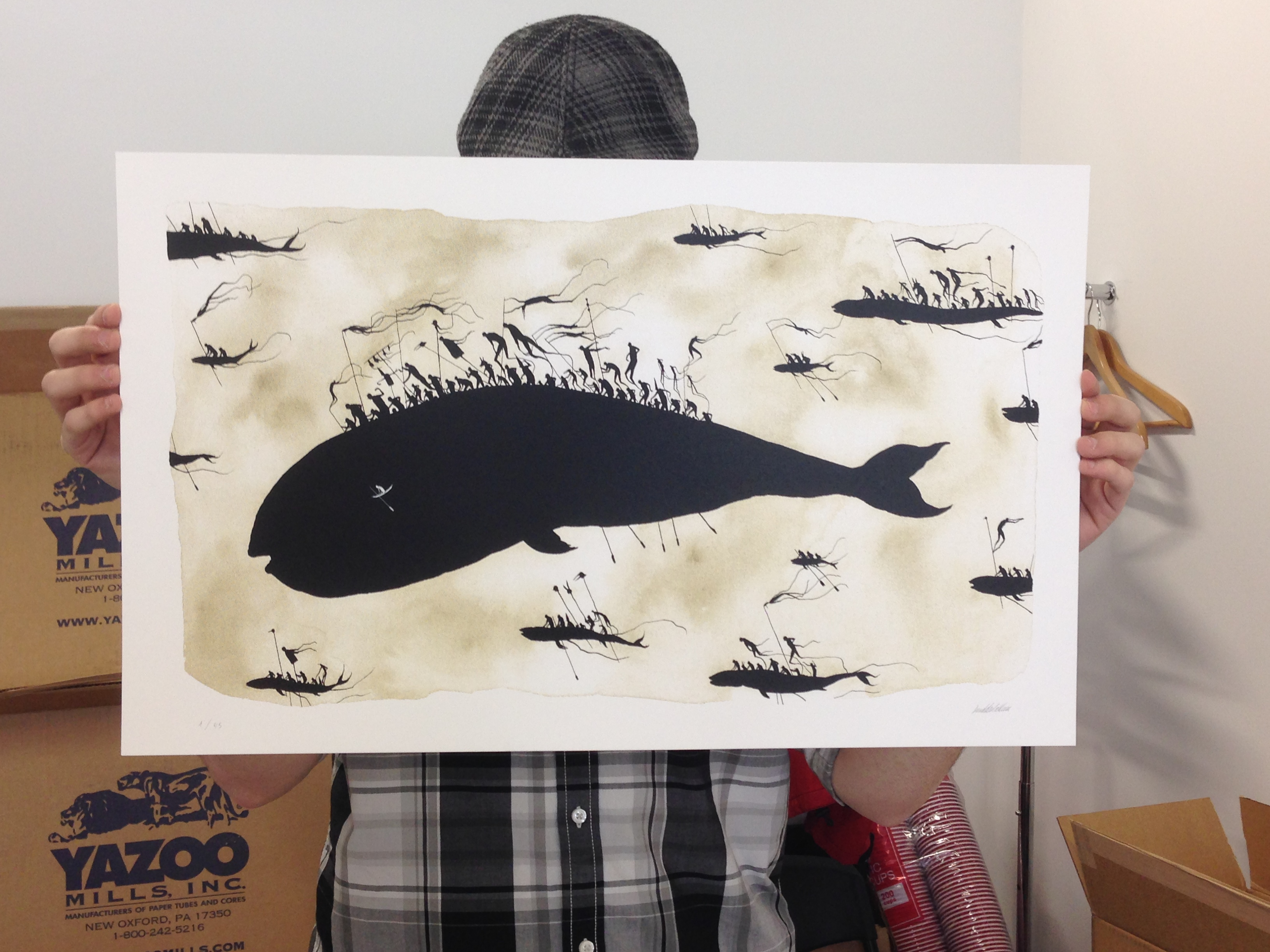 """Whale Hunters"" by David De La Mano.  24"" x 14.75"" Screenprint, hand-embellished.  Ed of 45 S/N."