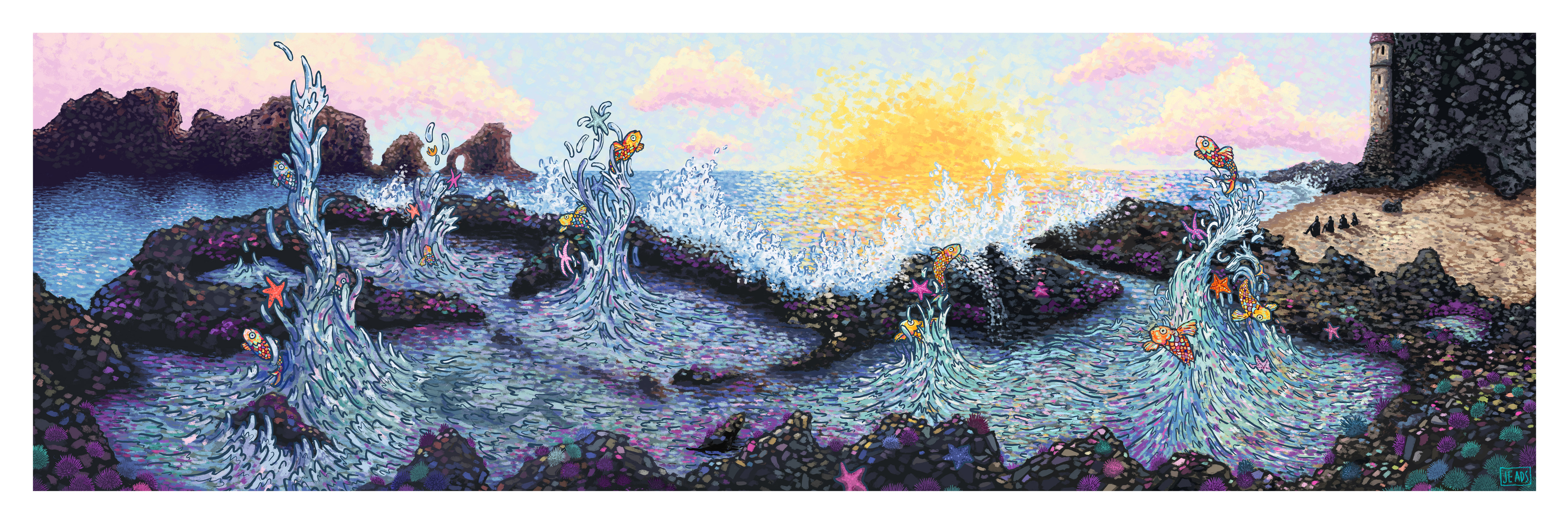 """Mermaid Weather"" by James R Eads.  12"" x 36"" Giclee.  Timed edition S/N.  $40"