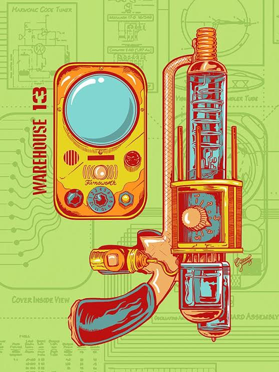 """Farnsworth, Tesla Pistol"" by  Cristiano Suarez.  18"" x 24"" 6-layer Screenprint.  Ed of 50.  $35"