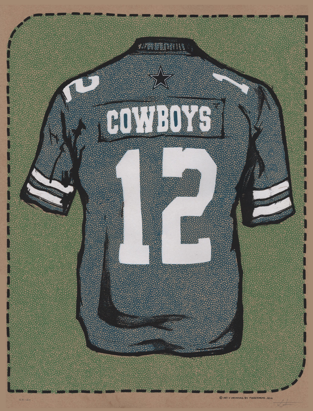 """Dallas Cowboys by FugScreens Studios. Edition of 75 S/N 18x24 five layer screen print with metallic ink"