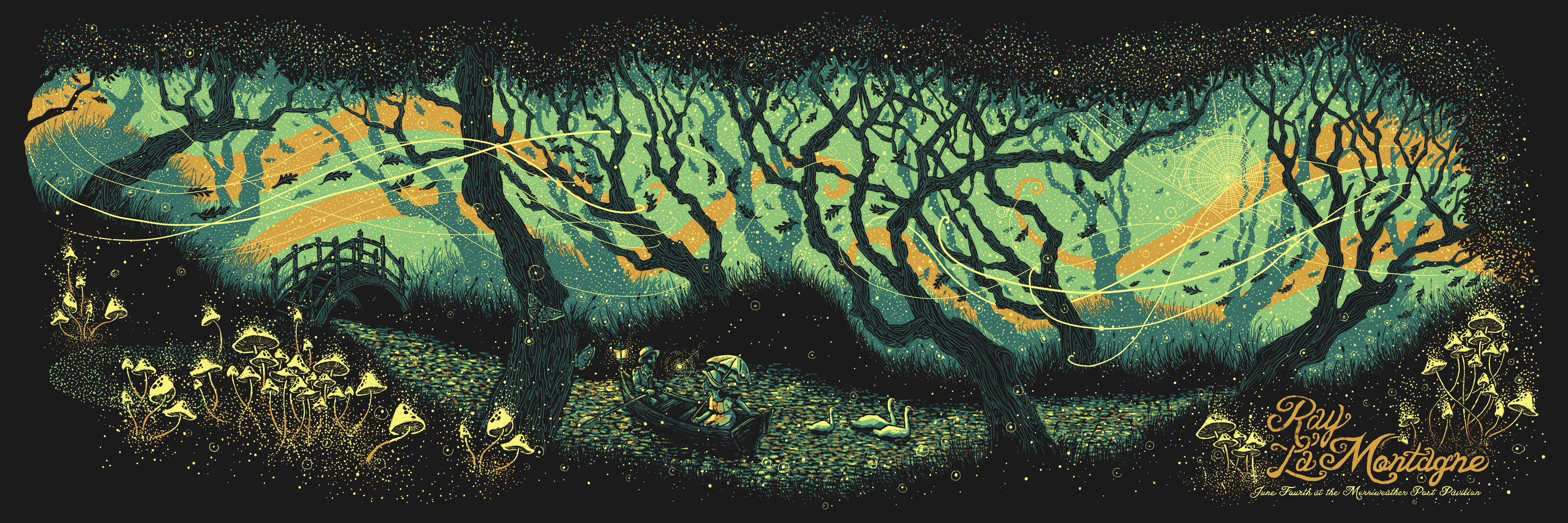"""Ray LaMontagne - Baltimore, MD 2014"" by James R Eads.  12"" x 36"" Screenprint.  Ed of 195 S/N.  $45"