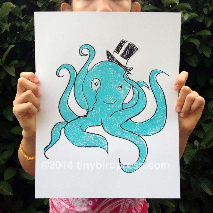 tiny bird Reginald the Gentleman octopus