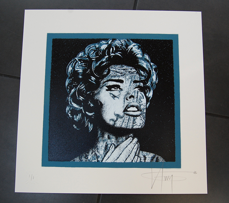 """Linda Evangelista"" by K-Guy.  20"" x 20"" 2-color Screenprint/Spraypaint.  £175 ($257)"
