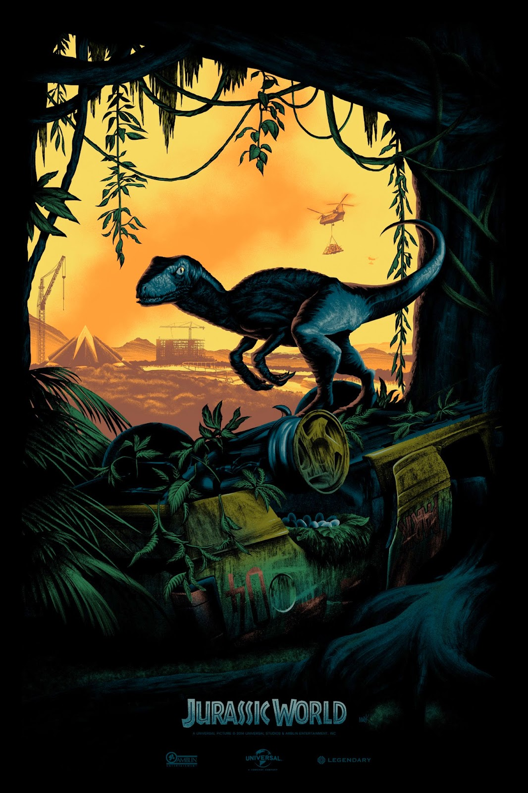 """Jurassic World"" by Mark Englert.  24"" x 36"" 7-color Screenprint.  Ed of 500."