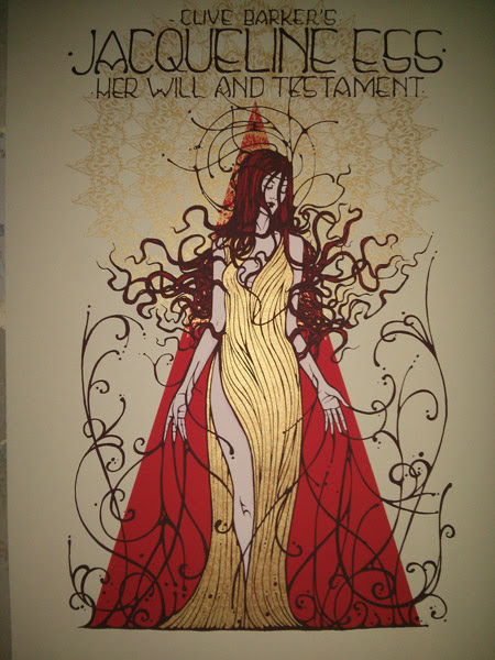 """Jacqueline Ess: Her Will and Testament"" by Malleus.  50 x 70cm 4-color Screenprint.  Ed of 145 S/N."
