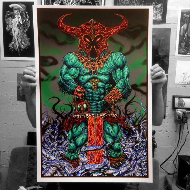 """Grim Green Decay"" VARIANT (ComicCon Exclusive - Only available at Booth #5051) 10 COLOR SCREEN PRINT 24x36 inches of untold heretic rot EDITION OF ONLY 30!! $125"