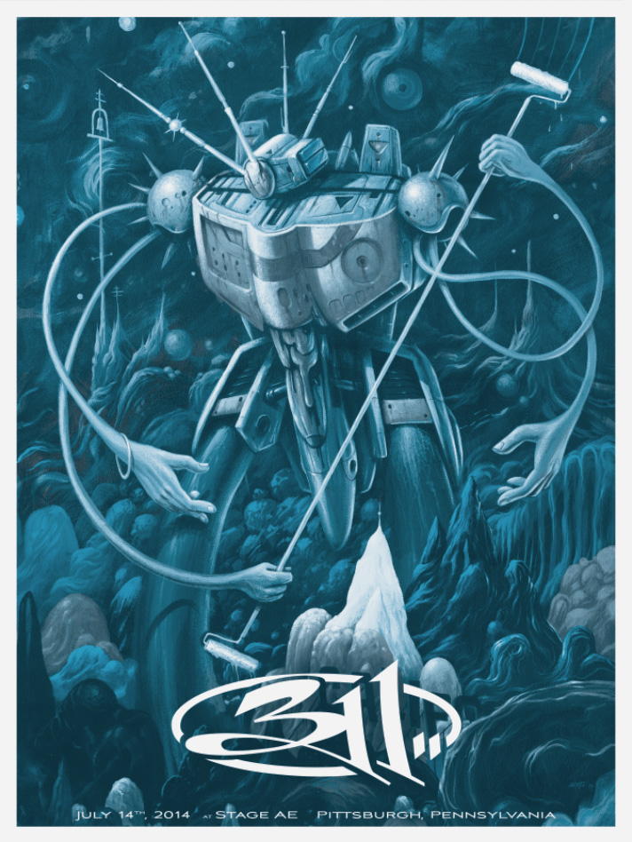 """311 - Pittsburgh, PA 2014"" by Jeff Soto.  18"" x 24"" CMYK Screenprint.  Variants, multiple colorways"