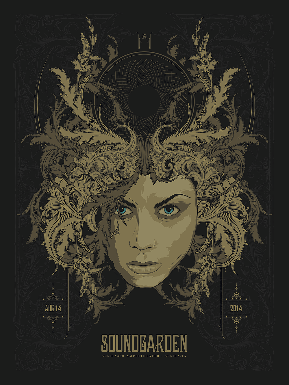"""Soundgarden - Austin, TX 2014"" by Anonymous Ink & Idea.  18"" x 24"" 5-color Screenprint.  Ed of 225 S/N.  $35"