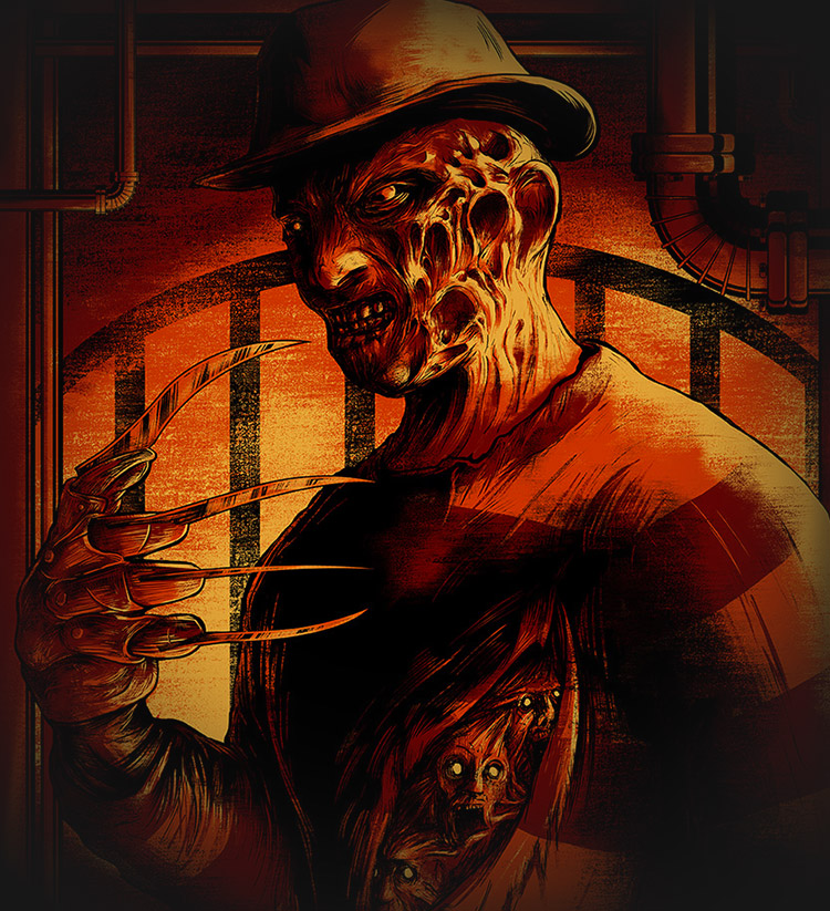"""Freddy Krueger"" by Matthew Johnson.  18"" x 24"" Screenprint.  Ed of 50 S/N.  $25"